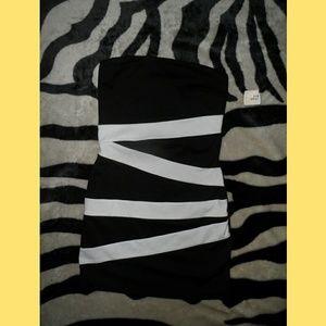 Forever 21 Black & White Strapless Mini Dress BNWT